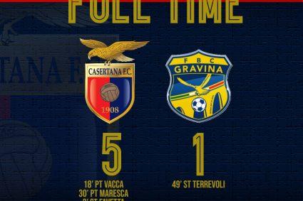 Casertana show, travolto il Gravina 5-1: terza vittoria consecutiva